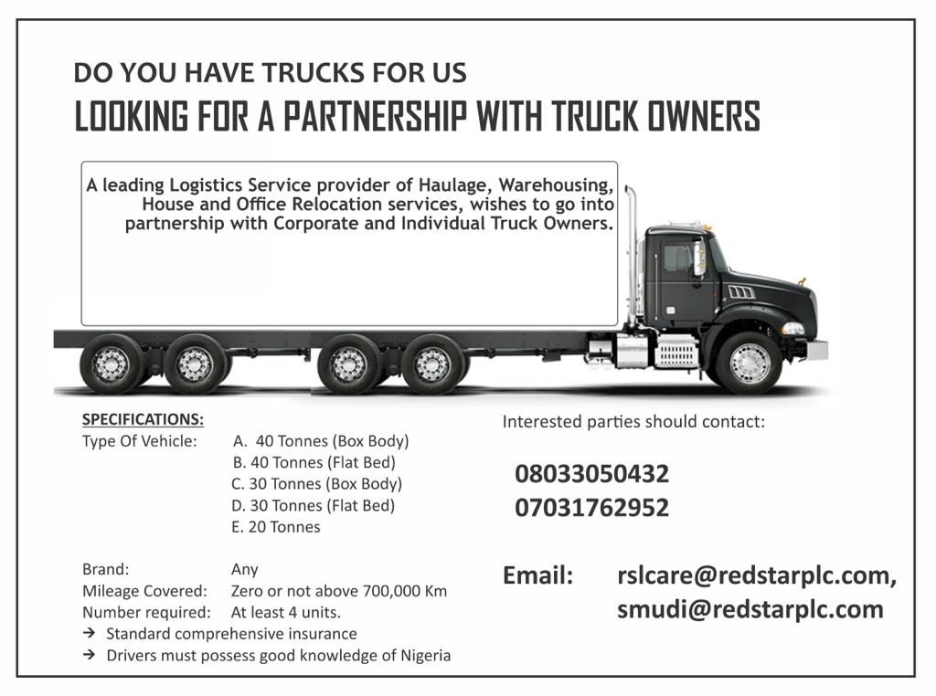 Looking for a partnership with Truck Drivers